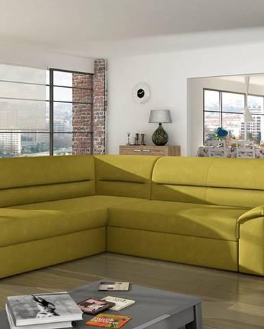 Estrela L rohová sedačka s rozkladom a úložným priestorom žltá