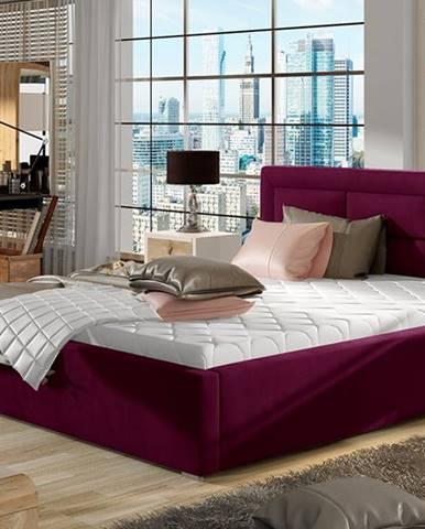Rovigo UP 200 čalúnená manželská posteľ s roštom vínová