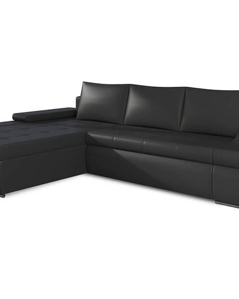 NABBI Oristano L rohová sedačka s rozkladom a úložným priestorom čierna (Soft 11)