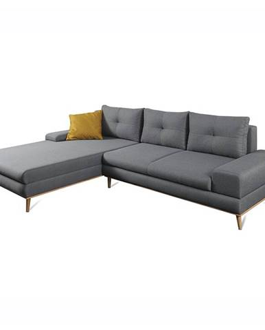 Panos L rohová sedačka s rozkladom a úložným priestorom sivá