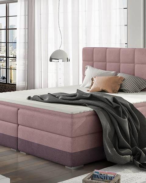 NABBI Dalino 180 čalúnená manželská posteľ s úložným priestorom ružová