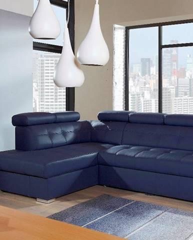 Atlanta L kožená rohová sedačka s rozkladom modrá