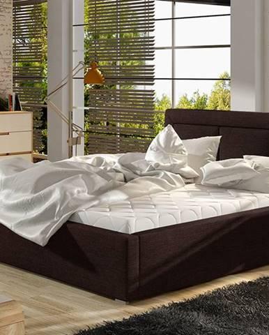 Branco UP 160 čalúnená manželská posteľ s roštom tmavohnedá (Sawana 26)