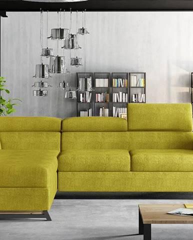 Korense L rohová sedačka s rozkladom a úložným priestorom žltá