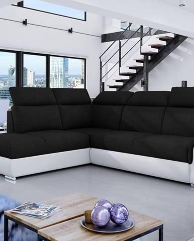 Leren L rohová sedačka s rozkladom a úložným priestorom čierna