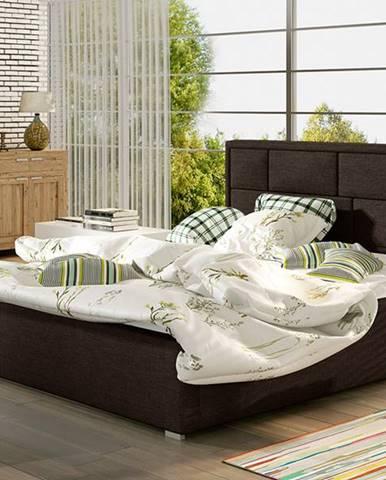 Liza 160 čalúnená manželská posteľ s roštom tmavohnedá (Sawana 26)