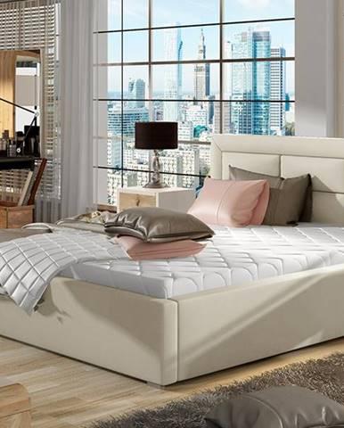 Rovigo 200 čalúnená manželská posteľ s roštom béžová