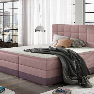 Dalino 180 čalúnená manželská posteľ s úložným priestorom ružová
