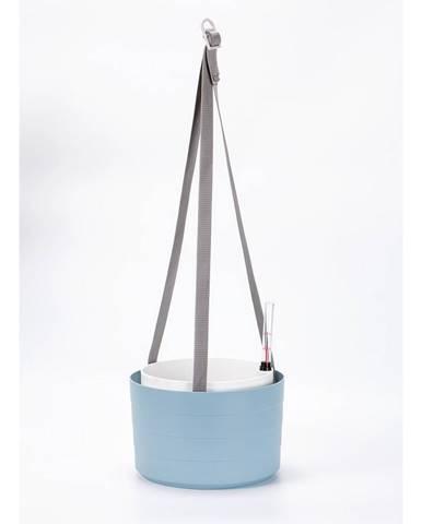 Plastia Samozavlažovací závesný kvetináč Berberis sivo-modrá + biela, pr. 26 cm