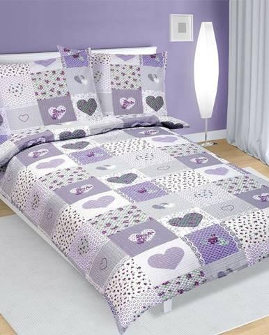 Bellatex Krepové obliečky Srdce fialová, 140 x 200 cm, 70 x 90 cm