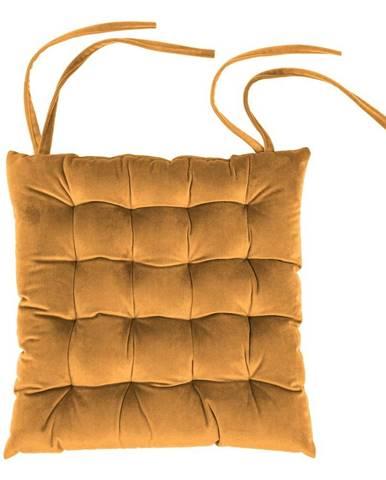 Oranžový zamatový vankúš na sedenie Tiseco Home Studio, 37 x 37 cm