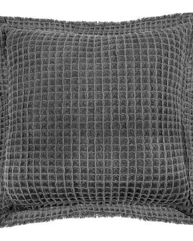 Sivý bavlnený dekoratívny vankúš Tiseco Home Studio Waffle, 45 x 45 cm