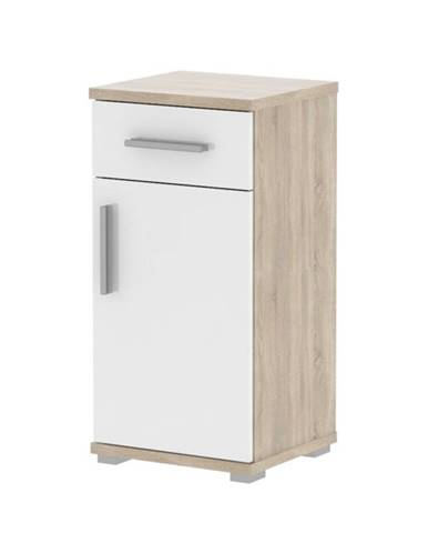 Spodná kúpeľňová skrinka biela pololesk/dub sonoma LESSY LI 03