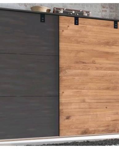 Šatník s posuvnými dverami Detroit, 250 cm, doskový dub / antracitová oceľ%