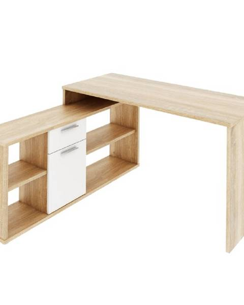 Kondela PC stôl dub sonoma/biela NOE NEW