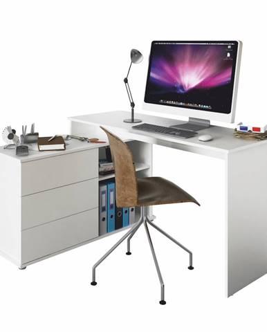 Univerzálny rohový PC stôl biela TERINO
