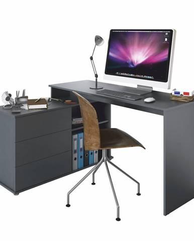 Univerzálny rohový PC stôl grafit TERINO