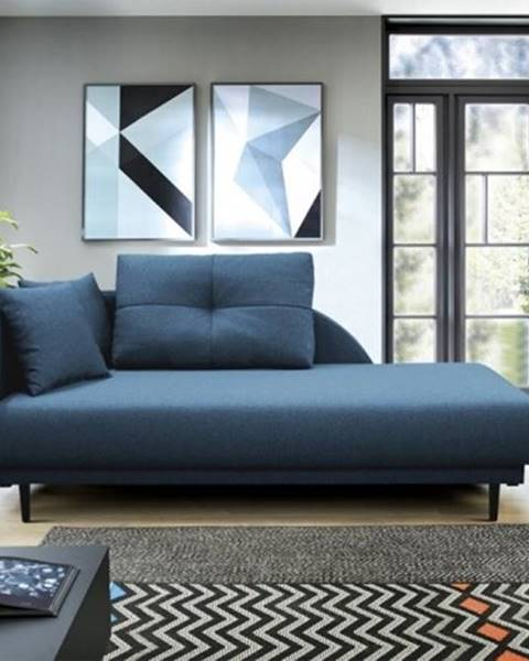 OKAY nábytok Leňoška Ize s úložným priestorom, ľavá strana, modrá