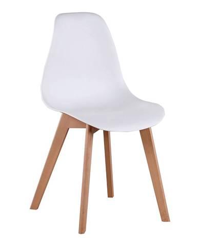 Jedálenská stolička biela/buk AYNA