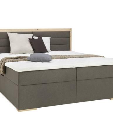 Carryhome POSTEĽ BOX, 180/200 cm, textil, kompozitné drevo, sivá, farby dubu - sivá, farby dubu