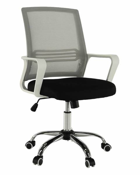Kondela Kancelárska stolička sieťovina sivá/látka čierna/plast biely APOLO