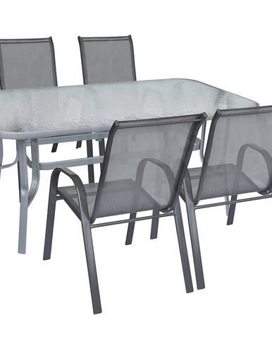 Sada sklenený stôl + 4 stoličky šedá