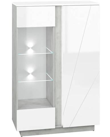 Vitrína Lumens 04 biely lesk/betón