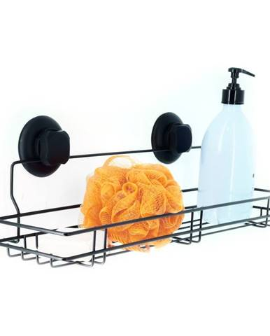 Čierna samodržiaca nástenná kuchynská polička Compactor Bestlock Black Kitchen Shelf, 45,5 x 12 cm