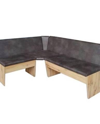 Rohová jedálenská lavica MERKUR dub wotan/hnedá