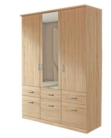 Šatníková skriňa BENETT dub sonoma, 2 dvere, 6 zásuviek, 1 zrkadlo
