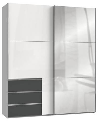 Šatníková skriňa ELIOT biela/grafit, šírka 200 cm, 1 zrkadlo