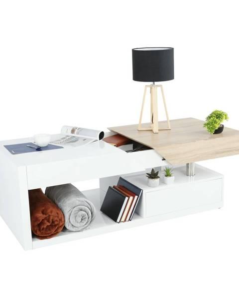 Kondela Konferenčný stolík biely lesk/dub sonoma MELIDA poškodený tovar