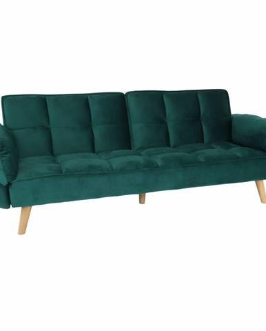 Rozkladacia pohovka smaragdový zamat/buk KAPRERA NEW