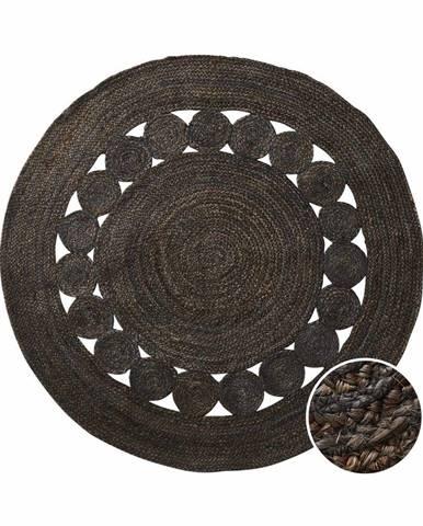 ALL NATURE Konopný koberec s dierovaným vzorom 110 cm - tm. hnedá