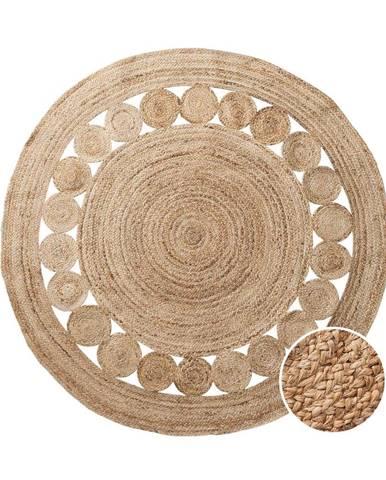 ALL NATURE Konopný koberec s dierovaným vzorom 150 cm - prírodná