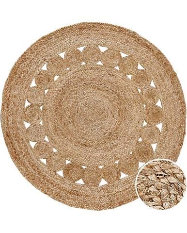 ALL NATURE Konopný koberec s dierovaným vzorom - prírodná