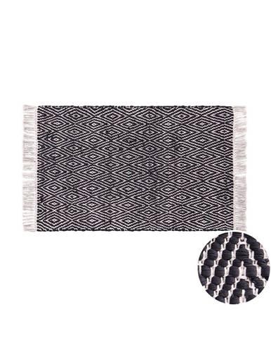 ETHNO LODGE Koberec károvaný 60 x 90 cm - čierna/prírodná