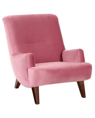 Ružové kreslo s hnedými nohami Max Winzer Brandford Suede