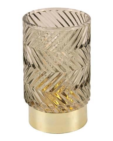 Hnedá LED sklenená stolná lampa PT LIVING ZigZag