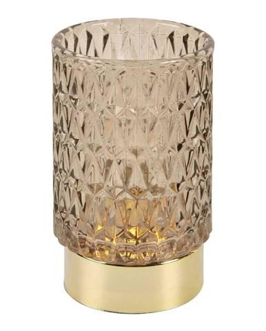 Hnedá LED sklenená stolová lampa PT LIVING Diamond