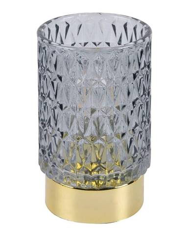 Sivá LED sklenená stolová lampa PT LIVING Diamond