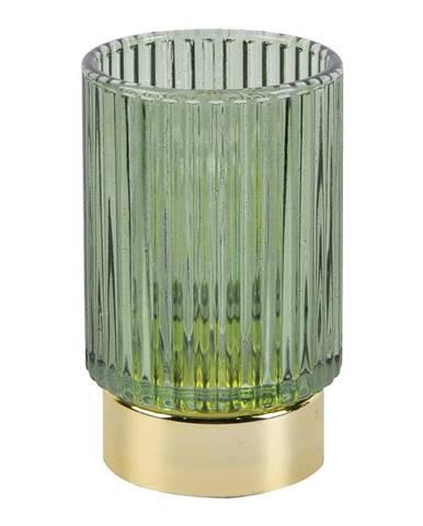 Zelená LED sklenená stolová lampa PT LIVING Ribbed