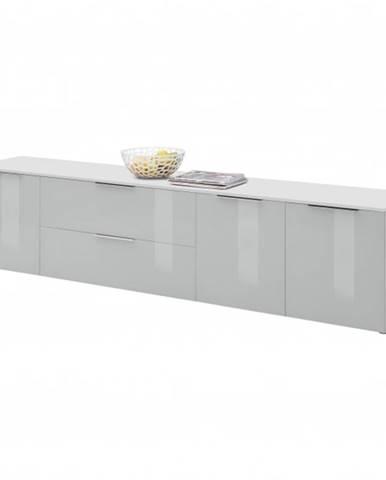 TV komoda TERRY VI biela matná/sivé sklo