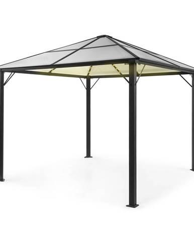 Blumfeldt Pantheon Solid Sky Ambient Solar, pavilón so sivou strechou, 3 × 3 m, polykarbonát, hliník