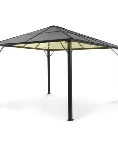 Blumfeldt Pantheon Solid Sky Ambient Solar, pavilón so strechou, 3 × 4 m, polykarbonát, hliník, osvetlený