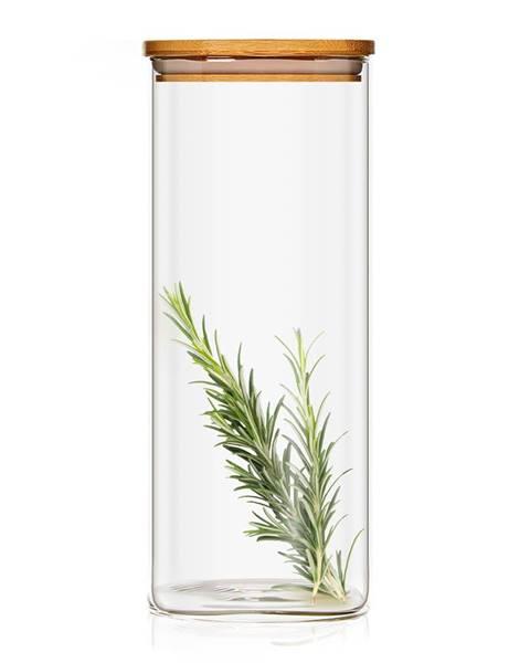 Klarstein Klarstein Hranatá nádoba skladovanie potravín s bambusovým vrchnákom, vzduchotesná, so silikónovým tesnením, 10 × 20,5 × 10 cm, 1500 ml