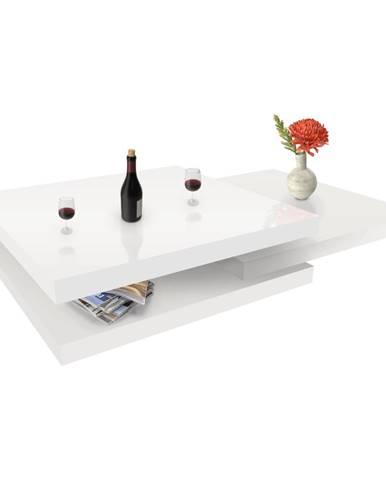 Otočný konferenčný stolík biela vysoký lesk HG SONIC poškodený tovar