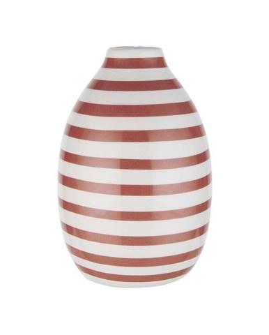 CARO Váza prúžkovaná 9 cm - biela/sv. červená