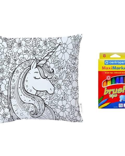 Mr. Little Fox Set obliečky na vankúš z bavlneného saténu a fixiek na textil Mr. Little Fox Flower Unicorn, 50 x 50 cm