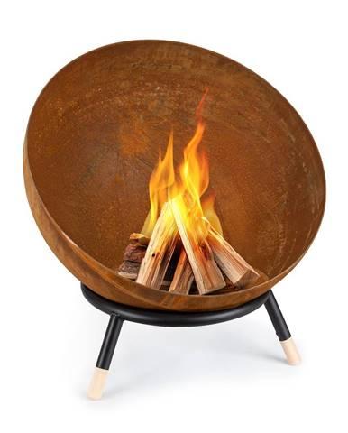 Blumfeldt Fireball Rust, ohnisko, 60 cm Ø, výklopný rošt, hrdzavý vzhľad/drevo